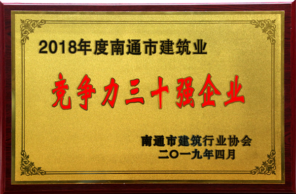 Group company ranks among the top 30 in Nantong construction industry